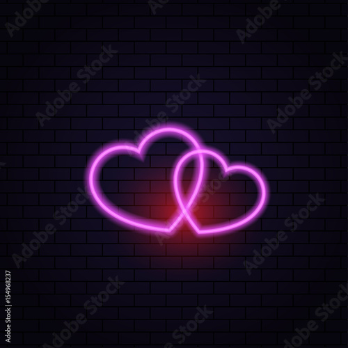 Two hearts neon lamp abstract on a brick background. Vector illustration .