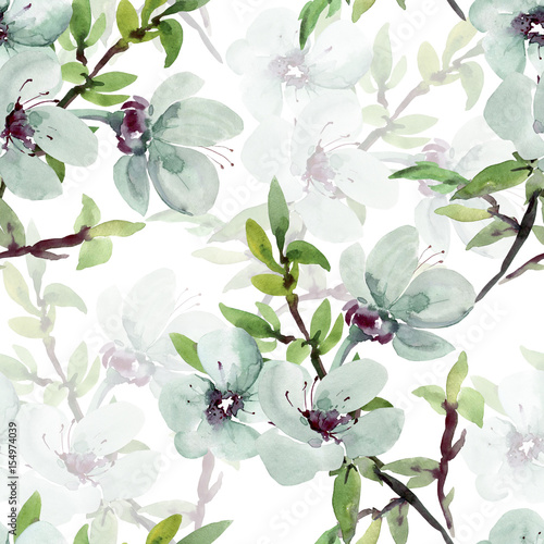 Fototapeta Seamless watercolor illustration of a flowering branch