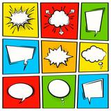 Fototapety Comic vector speech box set.  Speech bubble set. Cartoon pop art expression speech cloud illustration. Comics book vector background template.