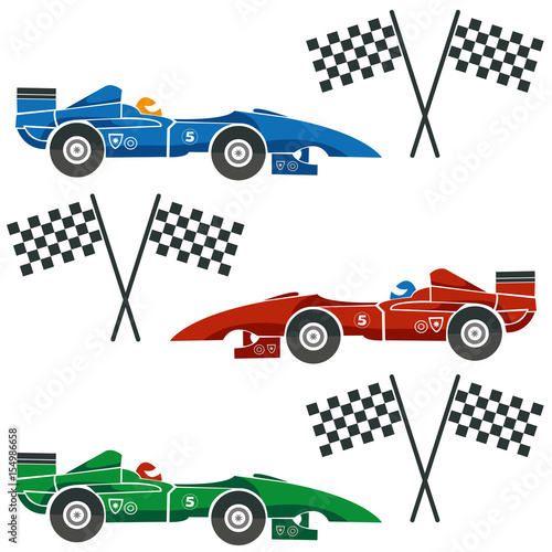 Fotobehang F1 Formula one cars with checkered flags
