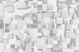 Flying white cubes abstract 3d background