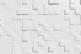 Abstract white wall with white cubes, 3d background