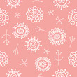 modern abstract floral pattern negative pink - 155005432