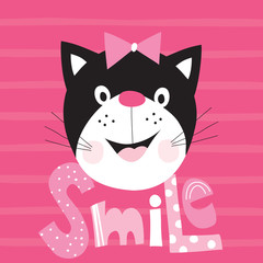 cute black cat vector illustration