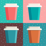 Set of colorful coffee cups over dot background in square frame