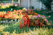 Decorative Retro Vintage Model Bicycle Equipped Basket Flowers Garden