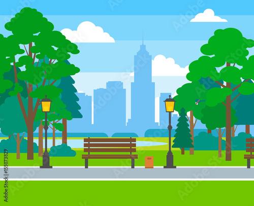 Papiers peints Piscine city park with trees benches street light