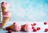 Ice cream with raspberry