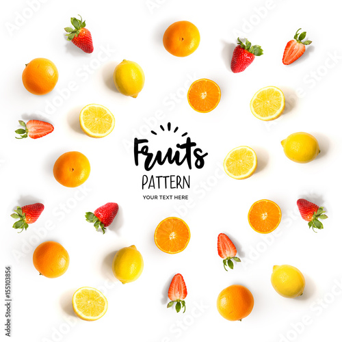 Seamless pattern with fruits. Tropical abstract background. Fruits on white background. - 155103856