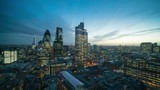 Day to night timelapse of City of London from a high viewpoints