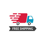 Free shipping icon vector, flat style truck moving fast and free shipping text label, fast delivery badge isolated on white - 155108680