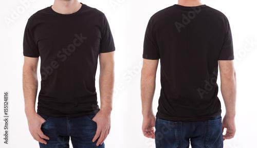 Koszulowy projekt i ludzie pojęć - zamyka up młody człowiek w pustym czarnym tshirt przód i tylni odizolowywający. Makiety szablon do wydruku projektu