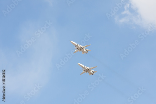 Russian fighters in the sky on the feast of victory day on 9 may плакат