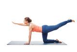 Woman doing Hatha yoga asana isolated