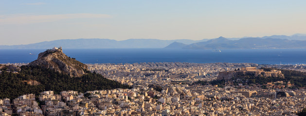 Athens, Greece - Panoramic view of Acropolis and Lycabettus