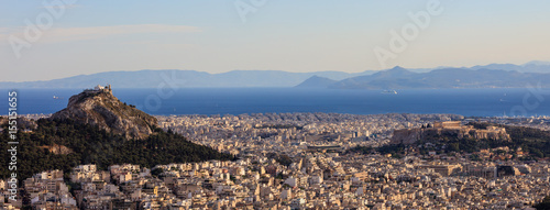 Staande foto Athene Athens, Greece - Panoramic view of Acropolis and Lycabettus