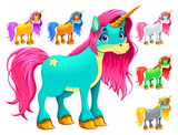 Set of cartoon unicorns - 155167039
