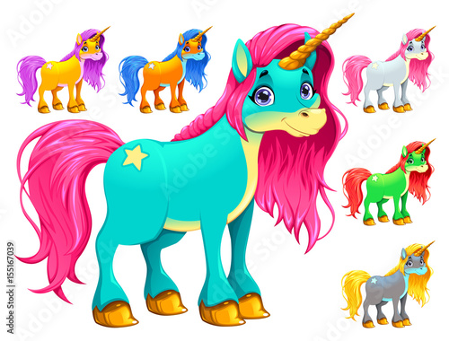 Deurstickers Kinderkamer Set of cartoon unicorns