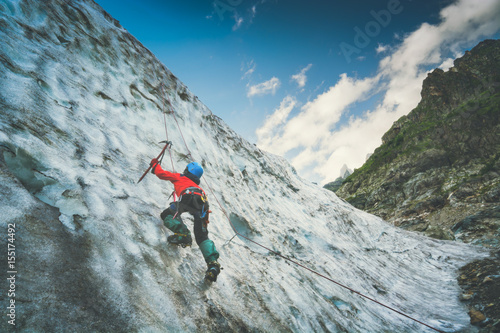 Poster Climber on a glacier. Instagram stylisation
