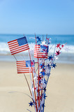 Patriotic USA background on the sandy beach - 155193880