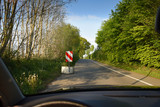 Car drives through fantastic summer landscape