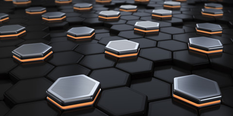 Black hexagons and with metallic luminous. Abstraction of the background. 3d render illustration.