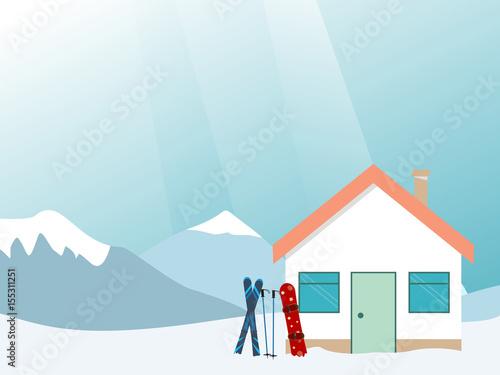 Ski house in mountains. Ski vacation.