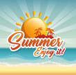 Sun and island silhouette with summer sign over beach landscape background. Vector illustration.