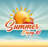 Fototapety Sun and island silhouette with summer sign over beach landscape background. Vector illustration.
