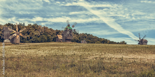 Plagát Old wooden windmill