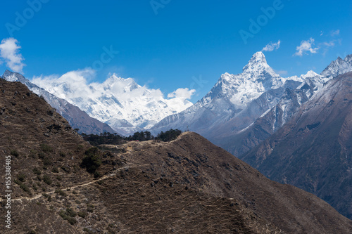 Himalaya mountains landscape from Namche Bazaar view point, Everest region, Nepa Poster