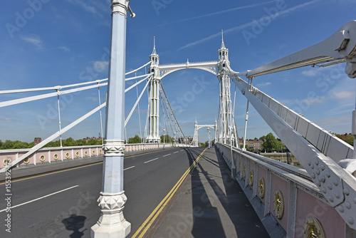 Roadbed and Superstructure of Albert Bridge over the Thames in London Poster