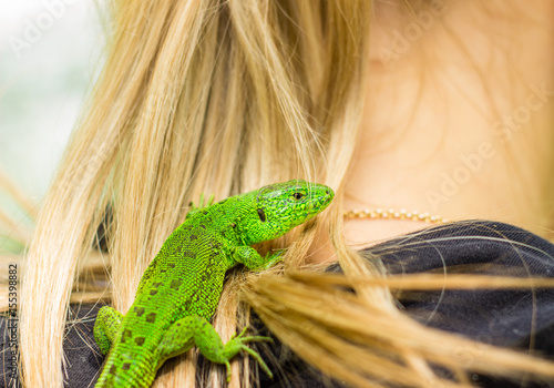 Lizard in the girl's neck Poster