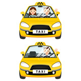 Yellow taxi car and taxi driver with passenger.They are fastened with a seat belt in the cabin. Vector flat illustration isolated on white background