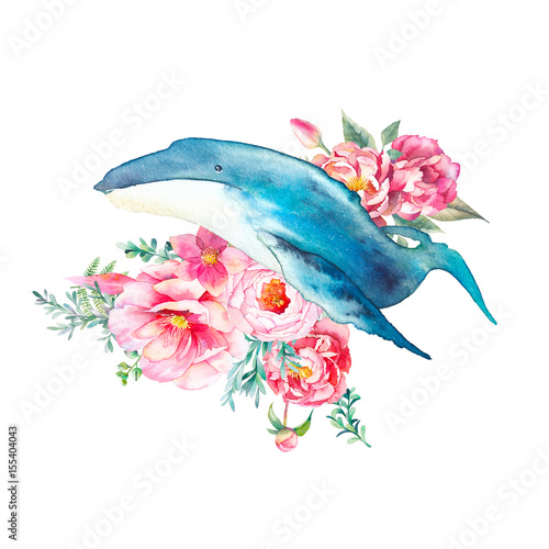 Whale with flowers artwork. Watercolor composition with big blue whale and roses, eucalyptus, peonies bouquet. Hand painted animal silhouette isolated on white background.  - 155404043