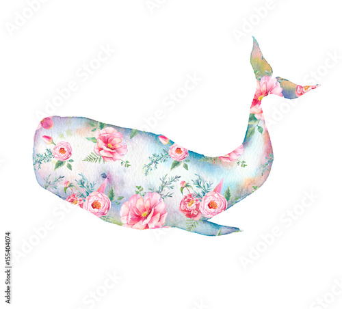 Whale with flowers artwork. Watercolor print with cachalot whale and tulip, roses, peonies bouquet pattern. Hand painted animal silhouette isolated on white background. Creative natural illustration - 155404074