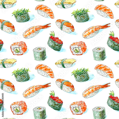 Fototapeta Seamless pattern of a gunkan, sushi and roll. Japanese cuisine.Shrimp, salmon,omelette, red caviar and chuka.Watercolor hand drawn illustration.White background.