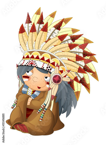 In de dag Indiërs cartoon sitting indian chief character - isolated