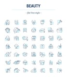 Fototapety Vector graphic set. Icons in flat, contour, thin, minimal and linear design.Beauty. Attributes of beauty for men and women.Concept illustration for Web site.Sign,symbol, element.