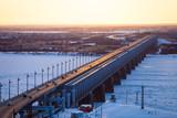 Bridge over Amur river in Khabarovsk