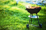Barbecue grill with fire - 155434604