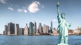 The statue of Liberty, Landmarks of New York City with Manhattan building