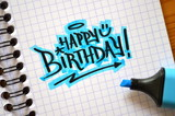 HAPPY BIRTHDAY Graffiti Tag in Notebook