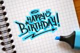 HAPPY BIRTHDAY Graffiti Tag in Notebook