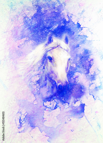 Horse painting and abstract backgeound. Marble effect.