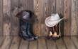 Cowboy boots, hat, shed, farm