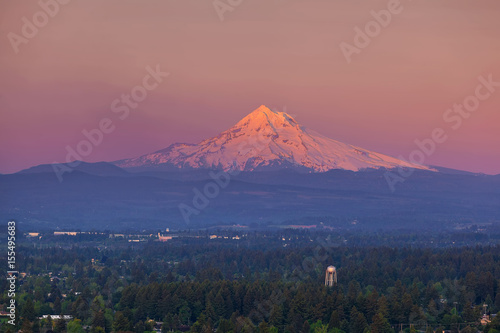 Last Light on Mount Hood from Rocky Butte плакат