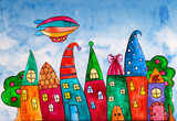 Fantasy bright sweet houses in a whimsical childlike style. Cartoon houses. Cute houses and trees and dirigible. Zeppelin airship dirigible balloon flight. - 155510459