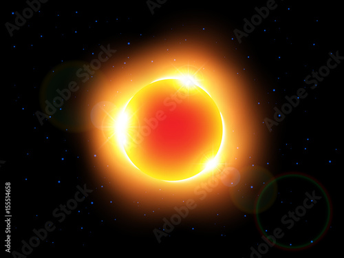 The sun and lens flare . Vector .