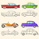 Collection with retro car in cartoon style. Color and black outline retro auto.  Classic car drawn set